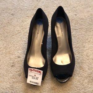 Shoes - Black peep toe wedge